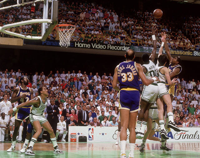 The Los Angeles Lakers win their fourth NBA title in eight years as they beat Boston 106-93 in Game 6 of the Finals, behind 32 points from Kareem Abdul-Jabbar and 16 points and 19 assists from Finals MVP Magic Johnson.