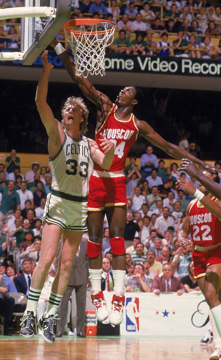 Larry Bird's triple double (29 points, 12 assists and 11 rebounds) help Boston beat Houston 114-97 in Game 6 to wrap up the Celtics' 16th NBA title and Bird's second NBA Finals MVP in three years.