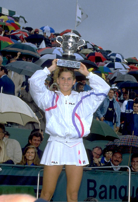 Monica Seles becomes the youngest winner in French Open history after defeating Steffi Graf.