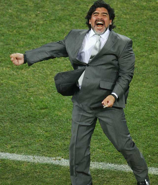 Argentina coach Diego Maradona celebrates after his side's third and final goal against Mexico. The Argentines are 4-0 at the World Cup under Maradona.