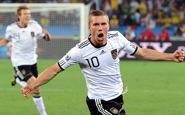 Lukas Podolski had plenty to shout about after scoring in the seventh minute to give Germany a quick lead in its Group D opener.