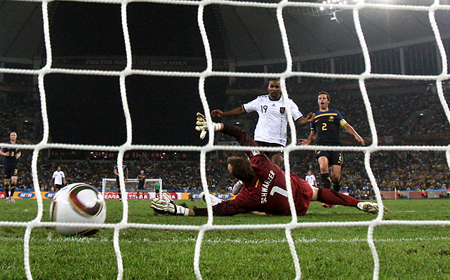 Germany's Cacau (19) scored in the 70th minute to close out the scoring.  Germany, which has not lost an opening match in the World Cup since a 2-1 defeat in 1982 against Algeria, takes on Serbia on Friday. Australia, which will be without red-carded Tim Cahill, will face Ghana on Saturday.