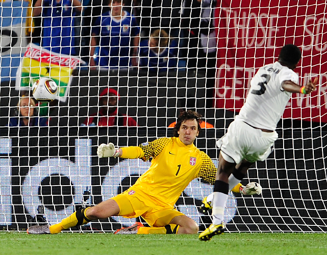 Asamoah Gyan's penalty kick past Vladimir Stojkovic in the 85th minute gave Ghana all it would need to record the first win by an African team in the World Cup.
