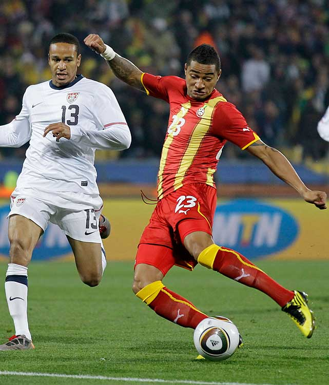 Ghana's Kevin-Prince Boateng scores Ghana's first goal. Boateng's brother plays for Germany, which also advanced to the quarterfinals.