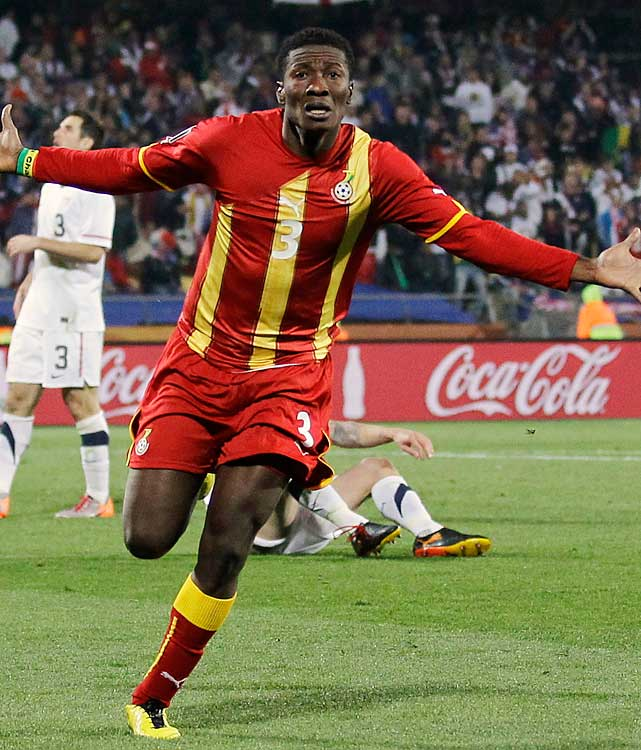 Ghana striker Asamoah Gyan celebrates after putting in the go-ahead goal in extra time. Ghana moved on the quarterfinals after being eliminated in the round of 16 in 2006.