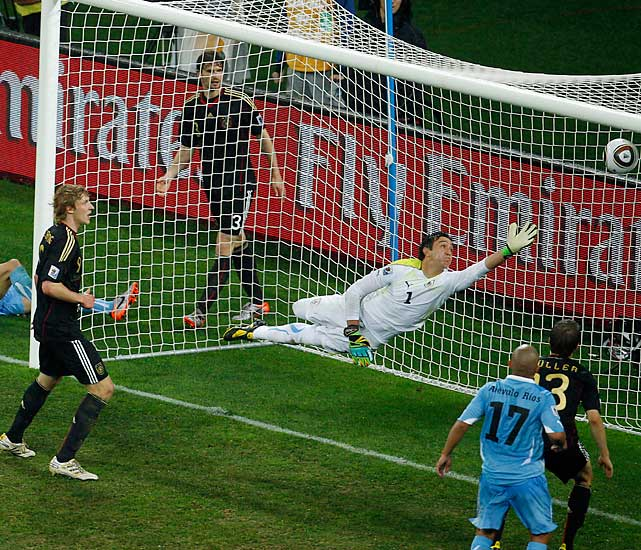 Uruguay goalkeeper Fernando Muslera couldn't reach Sami Khedira's shot in the 82nd minute. The strike proved to be the game-winner. Muslera allowed six total goals in his final two matches.