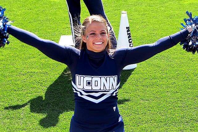 Meet UConn's Cara. This New Jersey-native almost went to Northeastern, but decided life as a Husky was right for her. When she's not cheering, you can find Cara checking out a Yankee's game, dreaming about going helicopter skiing or watching one of her favorite movies, Pirates of the Caribbean.    Want to find out more? Click the '20 Questions' link below.