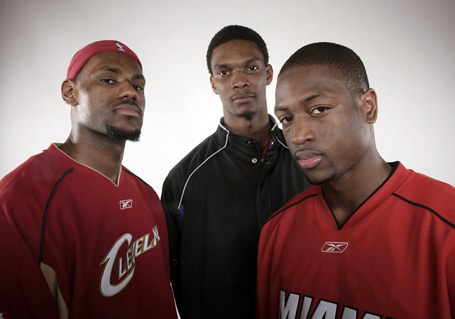 The gems of this year's free agent class - LeBron James, Chris Bosh and Wade - pose together during a photo shoot in Hoston.