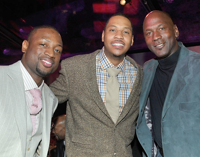 Wade, Carmelo Anthony, and Michael Jordan attend the Fabulous 23 Dinner during All-Star Weekend in Dallas.