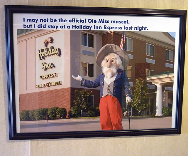 This sign hangs on the wall at the Holiday Inn Express in Oxford. On the day the Express spent in Oxford, the lead story in the Ole Miss school paper examined the remaining candidates for the new official mascot.