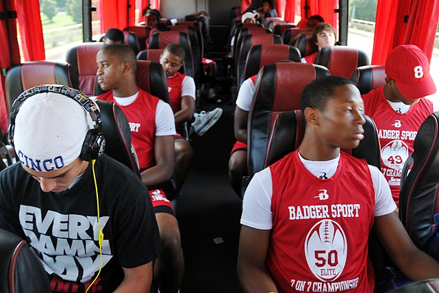 South Florida Express players take the bus to the tournament.