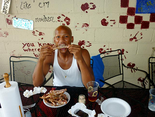 Plantation (Fla.) High linebacker Ryan Shazier eats ribs at Dreamland Barbecue in Tuscaloosa, Ala. Shazier won a rib-eating contest against two teammates by downing 18 ribs.   Click here for video