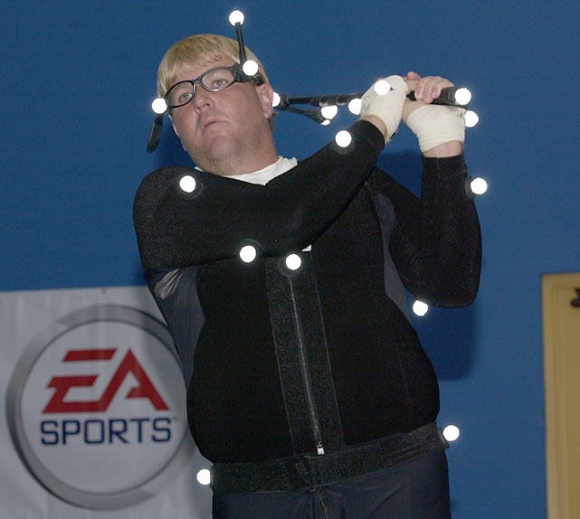 Daly wears a video capture suit for the filming of EA Sports' PGA TOUR Golf 2003.