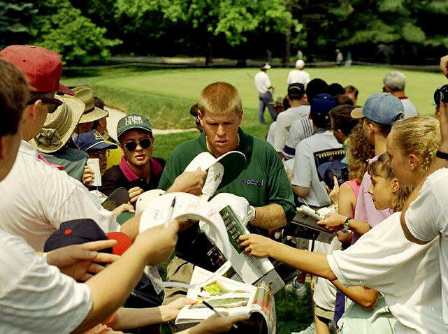 Since his debut in 1987, Daly has been one of the most popular players on tour. In this photo, the golfer is surrounded by autograph hunters at the U.S. Open ain Oakmont, Penn.