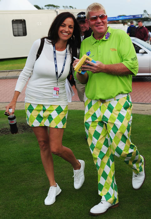 Daly and his girlfriend, Anna Cladakis, wear matching outfits as they take a stroll at the  Turnberry Golf Club in Scotland.  Cladakis, a former Hooters promotional director, has been credited with getting Daly's golf career back on track.