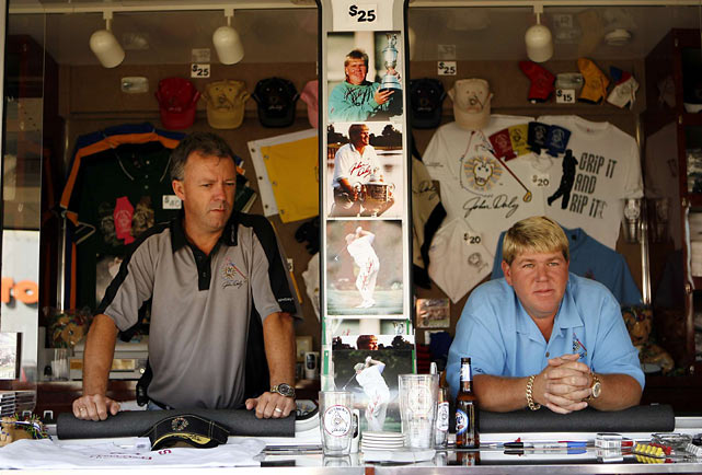 Daly tries to sell merchandise during Day 2 of the 2007 Masters.