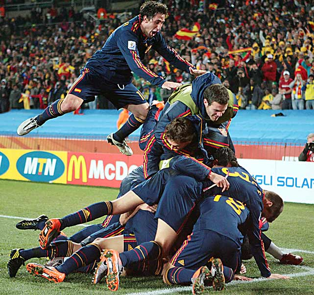 Spanish players celebrate after David Villa's goal gave them a 1-0 lead against Paraguay in the World Cup quarterfinals July 3 in Johannesburg, South Africa.