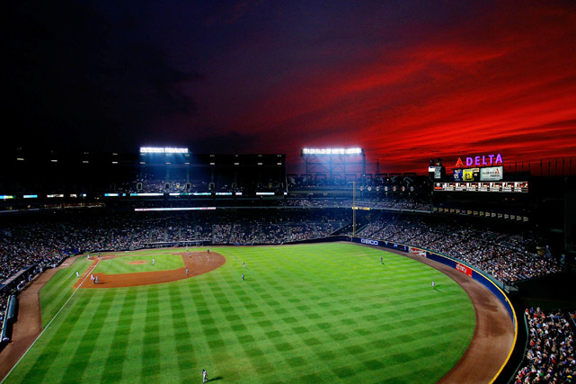 A red sky hangs over Turner Field during the game between the Braves and Nationals on June 30 in Atlanta.