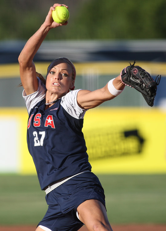 Team USA's Jennie Finch throws a pitch during a 5-0 victory over Japan in the KFC World Cup of Softball in Oklahoma City.
