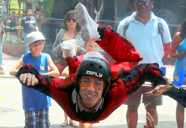 "All-Star Tim Lincecum ""gets his wings"" from Red Bull in a wind tunnel at Universal City Walk in Los Angeles after announcing he was becoming part of the Red Bull athlete roster."
