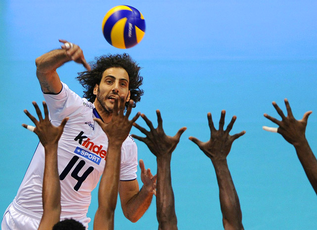 Alessandro Fei of Italy spikes during a World League Group F volleyball match against Cuba in Cordoba, Argentina.