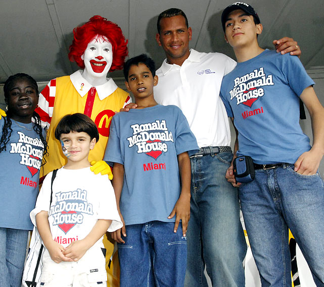 Rodriguez, um, clowned around with Ronald McDonald and kids in Miami at a January 2007 fundraiser.