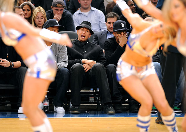 A-Rod and Jay-Z undoubtedly discussing the ethics of campaign finance reform while taking in a routine from the Knicks City Dancers at Madison Square Garden in November of 2009.