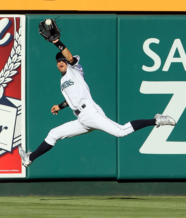 Ichiro made an early web gem by snaring a hard-hit ball from Albert Pujols in the first. The Japanese icon played in his 10th straight All-Star Game since signing with the Mariners before the 2001 season.