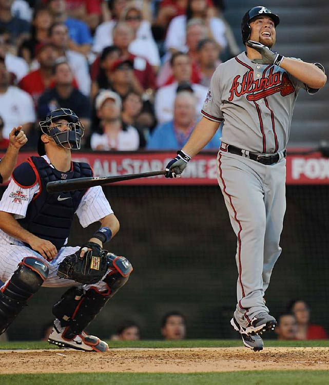 Braves catcher Brian McCann hit a bases-clearing double off White Sox reliever Matt Thornton in the seventh to give the National League a 3-1 lead. Despite the loaded All-Star rosters, the NL only brought two catchers.