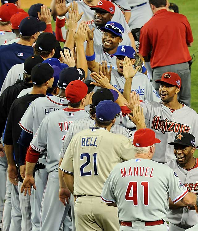 The National League won the All-Star Game for the first time since 1996, when Jason Heyward was in little league, hitting off a tee. The NL earned home-field advantage in the World Series.