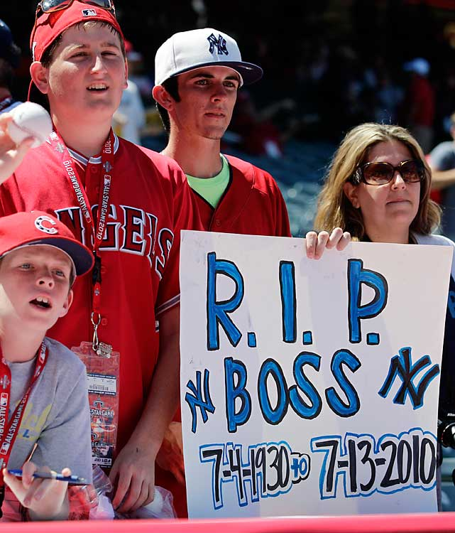 Players and fans paid tribute to George Steinbrenner, who passed away at age 80 earlier in the day. Angel Stadium held a moment of silence for the great Yankees owner before the game.