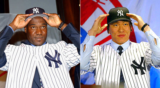 "The Yankees are famously deemed ""the Evil Empire"" by Red Sox president Larry Lucchino as they sign coveted Cuban hurler Jose Contreras for four years at $32 million and add insult to injury by adding Japanese superstar slugger Hideki ""Godzilla"" Matsui for three years at $21 million."