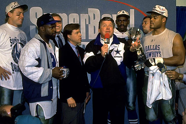 In Super Bowl XXVII, Leon Lett provided some solace to Cowboys haters in the fourth quarter of a 52-17 rout over the Bills. When Lett looked to have a sure touchdown, he began high-stepping his way into the end zone, holding the ball out. Streaking down the sideline, Bills receiver Don Beebe punched the ball out just before the goal line. Still, Jimmy Johnson and Co. were holding the trophy at the end.