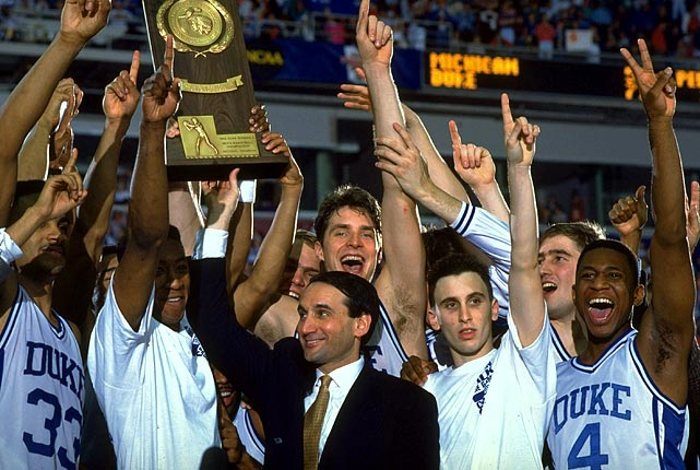 "Darlings after its 1991 championship, Duke's image shifted the following year during its second straight national title run. The pinnacle was ""the shot"" from Christian Laettner against Kentucky in the East Regional final, which still stings Wildcats fans and Duke haters when it is replayed time and time again each March."