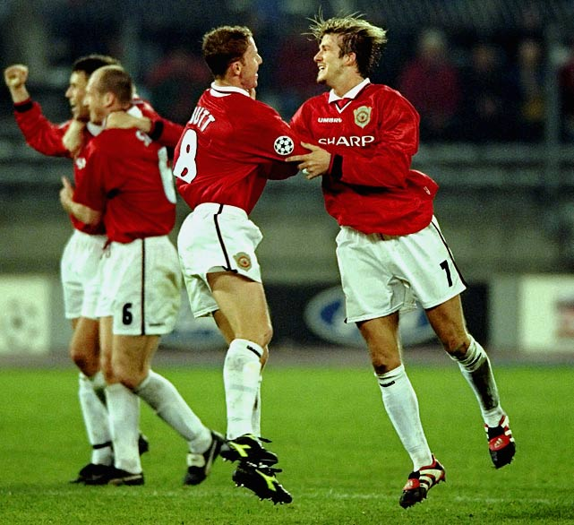 The team's ongoing golden age has attracted legions of glory-hunting supporters far beyond the industrial city's limits. And if success breeds contempt, then no team in club history was more reviled than the treble winners of '99, a side featuring Dwight Yorke, Andy Cole, Roy Keane and David Beckham (pictured, far right). Manchester United pulled off one the most memorable comebacks in soccer history, scoring twice in stoppage time to defeat Bayern Munich in the Champions League final to capture the historic treble.