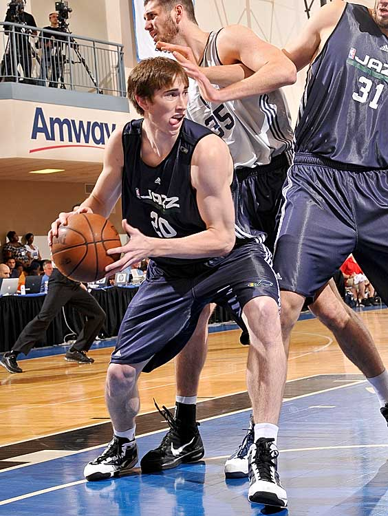 """Coach Jerry Sloan had high praise for Gordon Hayward (ninth pick) after watching him in Orlando. """"He's not a mistake-free player,"""" Sloan told the  Desert News . """"This is a game of mistakes. He'll make a mistake here or there. But he just plays. He just plays basketball. """"We had another guy here years ago who did the same thing, and he ended up being a pretty good player -- John Stockton. """"I don't mean to put that kind of pressure on [Hayward], but he plays."""""""