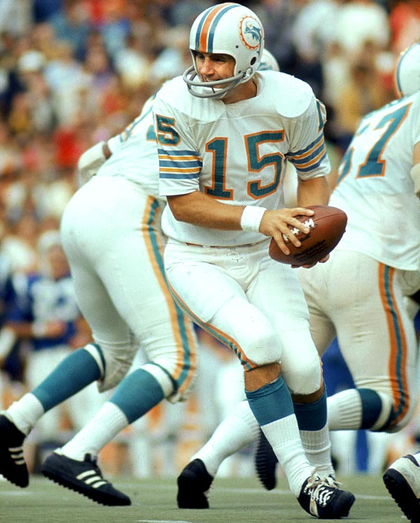The undefeated Dolphins won 11 of their 17 games, including playoff games against Cleveland and Pittsburgh, with wrinkly 38-year-old journeyman Earl Morrall at the helm of the offense in place of injured starter Bob Griese. Morrall was incredibly efficient in his role as game manager. He attempted just 17 passes per game, but threw 11 TDs with seven  picks, averaged an incredible 9.1 YPA and posted a great-for-the-era 91.0 passer rating. But Don Shula benched him in favor of the 27-year-old Griese before Super Bowl VII, a game in which Miami scored just 14 points, its lowest output of the year. Morrall lasted four more seasons as a Miami back up before retiring at 42.