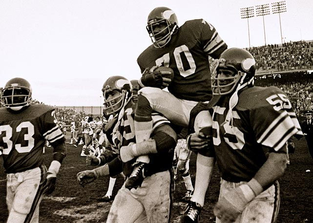 The two-time Pro Bowler wasn't his old self by the end of the 1979 season, nor were his four-time conference champ Vikings, who stumbled through their first losing season since 1967. But Jim Marshall was older than any defensive lineman in history, and that itself is quite an accomplishment. Probably the greatest ironman ever to ply his trade in NFL trenches, Marshall started every game for two entire decades, from his rookie year with Cleveland in 1960 through the entire 1979 campaign, a stretch of 282 consecutive contests that's been surpassed only by Brett Favre.  Marshall was two weeks shy of his 42nd birthday (Dec. 30) when his final season ended -- 18 months older than the next oldest defensive lineman in league history, Bruce Smith (40 1/2 at the end of his final season).