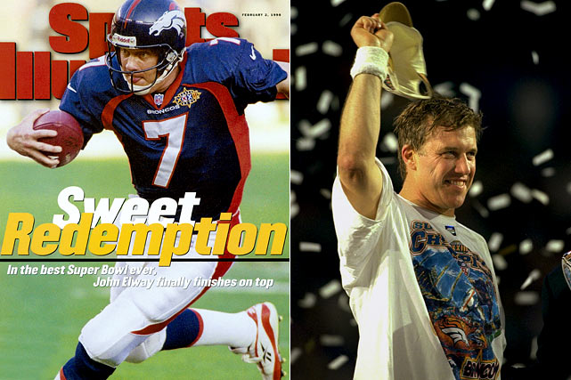 "The legendary Denver quarterback might always be the standard by which ""going out on top"" is measured. John Elway and the Broncos earned their first Super Bowl title in 1997, with a victory over the Packers in Super Bowl XXXII. For an encore, Elway produced a career year in 1998, passing for 22 touchdowns, 10 interceptions and a career-high 93.0 passer rating for the dominant 14-2 Broncos.  Denver rolled the Dolphins and Jets by a combined score 61-13 in two playoff games, setting up a Super Bowl showdown against the 14-2 Falcons. Denver again dominated, 34-19, while Elway earned Super Bowl MVP honors in his last pro football appearance. As the confetti fell, a joyous Elway yelled into the camera, ""I'm going to The Villages!"""