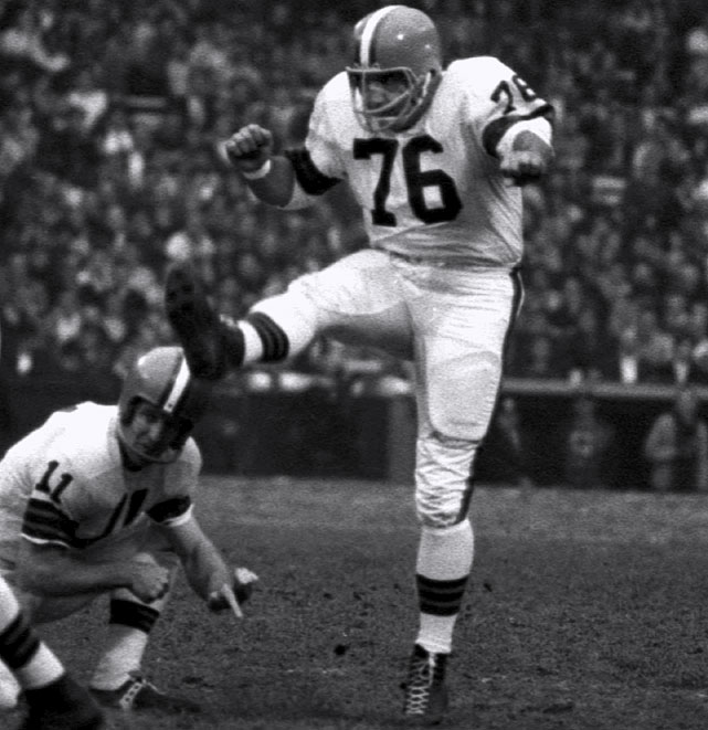 Lou Groza and the Browns grew up together. He joined Cleveland as a 22-year-old tackle and kicker in its debut season of 1946, helped it dominate the AAFC with four championships in four years, and then played in six straight NFL title games from 1950-55, winning three of them. Groza kicked the last-second clincher in a 30-28 win over the Rams in the 1950 NFL title game. He and the Browns enjoyed their last hurrah in 1964. Groza, at 40, was a kicking specialist and booted 22 of 33 field goals in 1964, adding two more in Cleveland's 27-0- whitewashing of the Colts in the championship game. It was Cleveland's last championship. Groza held on for three more years, retiring at 43. The Browns appeared in 13 pro football title games with Groza and zero without him.