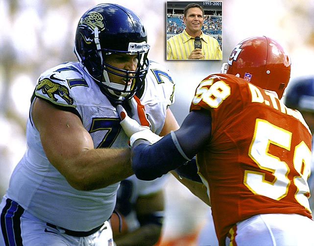 "A mammoth offensive tackle considered one of the top linemen in college football history, Tony Boselli has the unique distinction of being selected by two different expansion franchises. Boselli was the first-ever draft pick of the Jacksonville Jaguars in 1995, where he was a five-time Pro Bowler. Boselli would protect fellow Pro Bowl elect Mark Brunell in the Jaguars' memorable 1996 season that saw the two-year old franchise advance to the AFC Championship Game, where they would lose to the New England Patriots. The Jacksonville McDonalds franchises even sold a ""Boselli Burger"" for a short time in 1998. Boselli was eventually selected by the Houston Texans in the first pick of the 2002 NFL Expansion Draft, but injuries kept him from ever donning the blue and red. Boselli signed a one-day contract with the Jaguars in 2006 and was the first elect to the Jaguars' Hall-of-Fame, ""Pride of the Jaguars."""