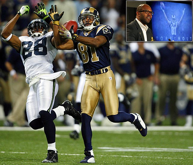 "Before St. Louis drafted Torry Holt, the team had won 15 games in three years. After they selected the touted N.C. State receiver in the first round of the 1999 NFL Draft, the Rams amassed 16 wins and a Super Bowl trophy in the same season. Arriving the same year as Kurt Warner and Marshall Faulk, Holt became an integral part of ""The Greatest Show on Turf"", the high-flying Rams' offense that averaged 33 points per game and transformed the image of the previously downtrodden franchise. Holt emerged as one of the top downfield threats in the NFL, earning seven Pro Bowl selections and setting a league record with six consecutive seasons of at least 1,300 yards receiving. After leaving the Rams in 2008, Holt had a disappointing season in Jacksonville followed by an inactive year in New England. Holt signed a ceremonial one-day contract with the Rams on April 4, 2012, ending his career 10th all-time in receiving yards."