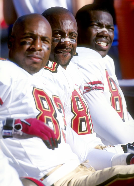 On the bench here behind J.J. Stokes and Jerry Rice, Owens was simply biding his time.