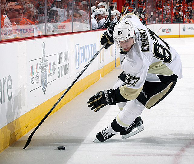 Losing their superstar captain to a concussion for the better part of 18 months did not deter the Pittsburgh Penguins from giving him an extension deal in July 2012 that will keep him in black, white and gold until 2025.  Crosby had 223 goals and 386 assists in seven seasons, leading the NHL with 120 points in 2006-07 and 51 goals in 2009-10. He added 90 points in 68 playoff games, including a league-high 15 goals during Pittsburgh's run to the 2009 Cup.