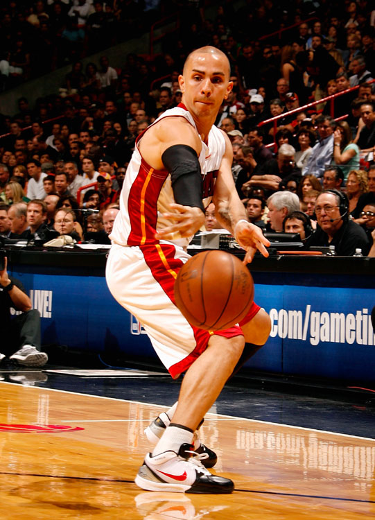Known as a feisty point guard, Carlos Arroyo will compete with Mario Chalmers for the team's starting point guard position. During his 11 seasons in the NBA, Arroyo has averaged 6.9 points and 3.2 assists. His best season came with the Jazz in 2003, when he played and started in 73 games and put up 12.6 points and 5.0 assists. Last season, the Puerto Rican point guard appeared in 72 games with the Heat.
