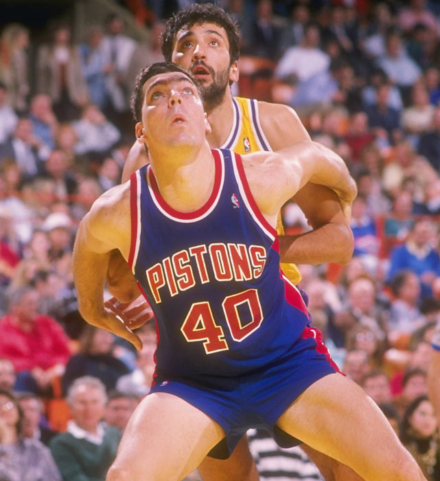 No player epitomized the Pistons' style of play more than Laimbeer. The Notre Dame grad averaged 14 points and 10 rebounds per game while providing a tough defensive presence in the paint.