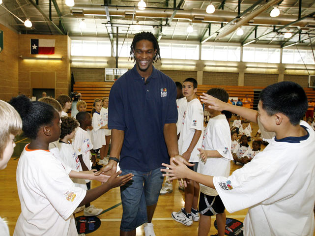 Bosh is a hit among kids at the Jr. NBA/Jr. WNBA Pledge to Be a S.T.A.R. Summer Camp in Addison, Texas.