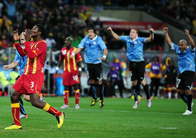 The heartbreak for Ghana commenced as Asamoah Gyan had a chance to put his squad through to the semifinals but missed a penalty shot at the end of extra time. As he watched his shot bounce high off the crossbar, Gyan welled up. Uruguay goalkeeper Fernando Muslera kissed the crossbar in a show of gratitude.