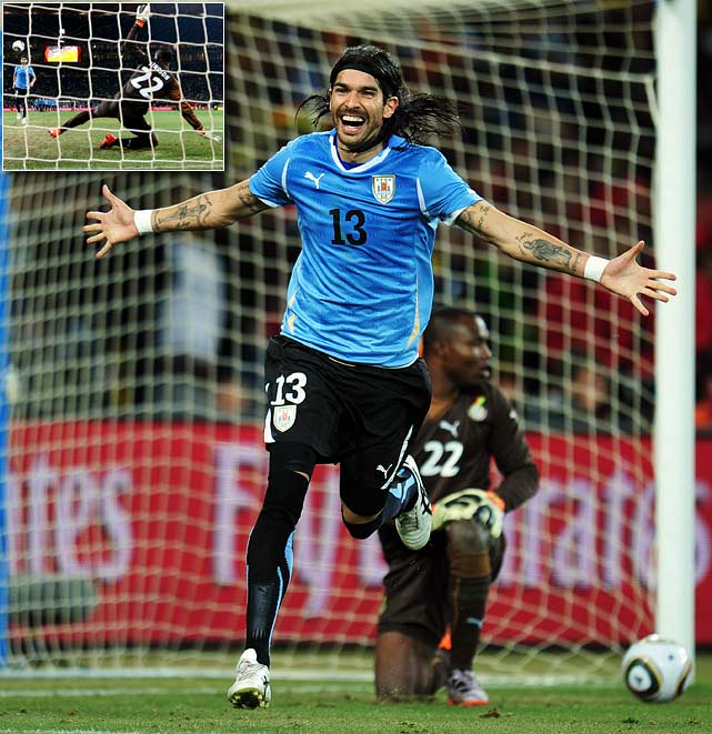 With a chance to put his team through, Sebastian Abreu buried a kick to give Uruguay the deciding 4-2 edge in penalty kicks. As Ghana's goalkeeper Richard Kingson dove to his right, Abreu chipped the ball right into the middle of the net.