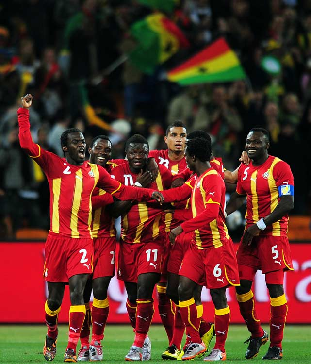 Right before halftime, Sulley Muntari put Ghana ahead with a long, curving shot from 39 yards out that found the back of the net. At 39 yards out, the goal was the second longest of the 2010 World Cup.